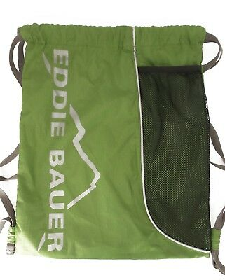 Eddie Bauer Drawstring Backpack Bag Lightweight Travel Daypack Tote Green $25EXC