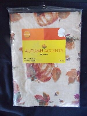 "New Autumn Accents Pumpkins & Leaves Vinyl Tablecloth 60"" Round"