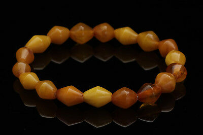 ANTIQUE Butterscotch Real Old Bead Strand Genuine BALTIC AMBER Bracelet 140602-1
