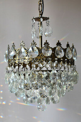 Mid-Century Antique Vintage Crystal Chandelier In Aged Brass for home & Living