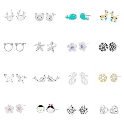 Fashion 925 Silver Cute Whale Horse Cat Fish Stud Earrings for Girls Kids Gift