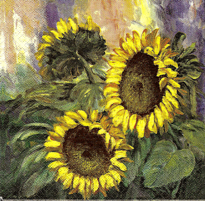 3x napkin Painted Sunflower for collection, decoupage and other crafts