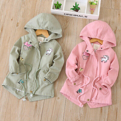 9bd55dfea Kids Windbreaker Girls Jackets Coats Unicorn Embroidery Hooded Baby  Outerwear