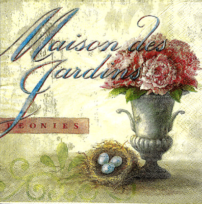 3x napkin Maison des Jardins for collection, decoupage and other crafts