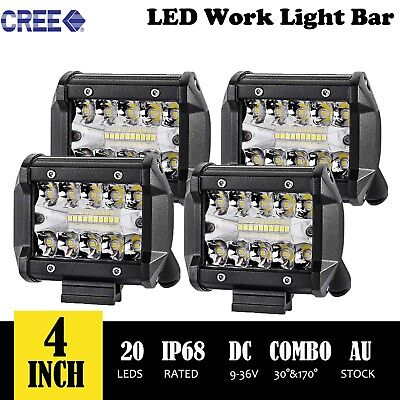 4x 4 inch 200W CREE LED Light Bar SPOT FLOOD 3Row Offroad Work Fog Lamp AU Stock
