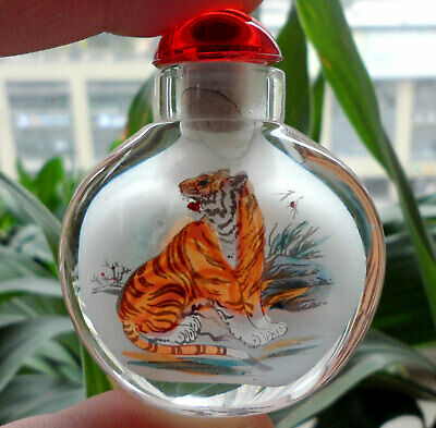 Collectible Chinese Handmade Inside painted Tigers glass Snuff Bottle