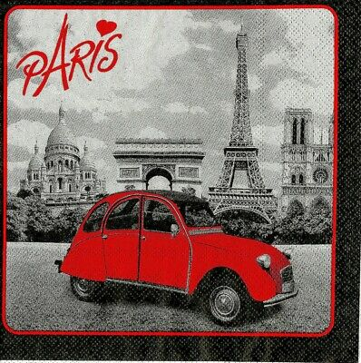 3x napkin Paris for collection, decoupage and other crafts
