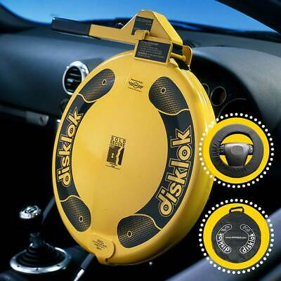 Disklok Security Yellow Steering Wheel Anti Theft Lock, Case & Cover - All Sizes