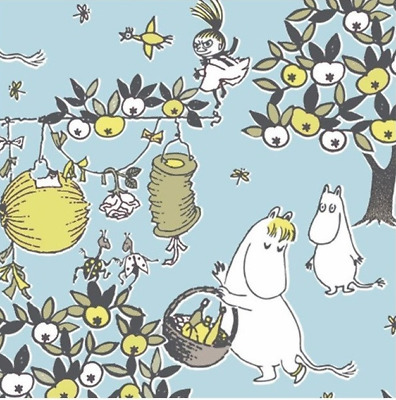 3x napkin Moomin Celebrations blue for collection, decoupage and other crafts