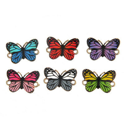 10Pcs Mixed Color Enamel Art Butterfly Butterfly Connector Charm DIY Jewelry