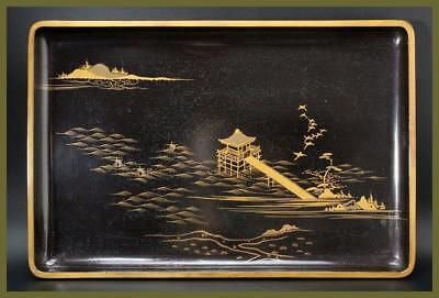 WT09 Japanese wooden gold makie Landscape painting square tray #sado