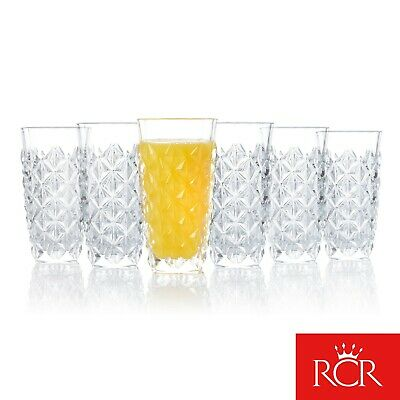 RCR COMBO-4357 Enigma Luxion Crystal Glass Hi-Ball Tumblers, 400 ml, Set of 12