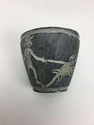 Antique American Indian Carved Slate Or Soapstone Cup Fighting Alien Creature