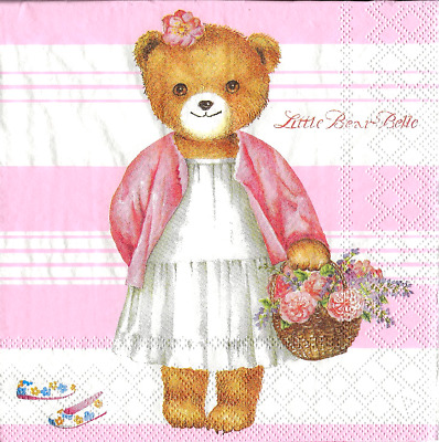 3x napkins Little Bear Belle for collection, decoupage and other crafts