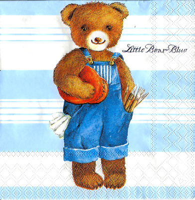3x napkins Little Bear Blue for collection, decoupage and other crafts