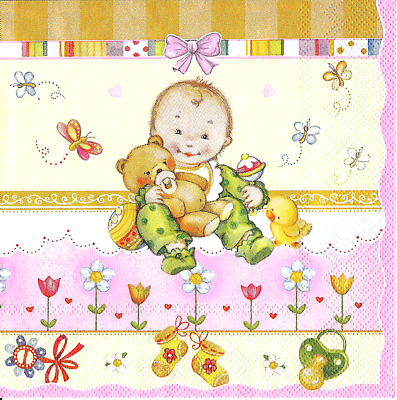 3x napkins Baby girl for collection, decoupage and other crafts