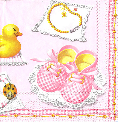 3x napkins Baby Girl pink collection, decoupage and other crafts