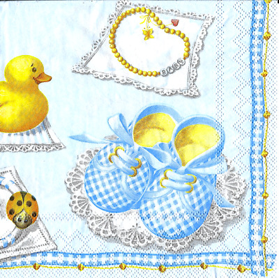 3x napkins Baby Boy blue collection, decoupage and other crafts