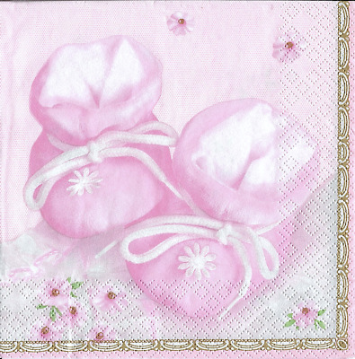 3x napkins Baby shoes pink collection, decoupage and other crafts