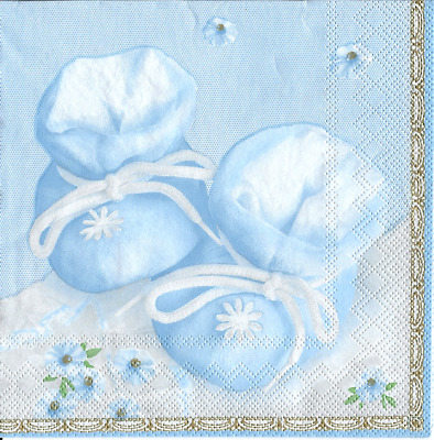 3x napkins Baby shoes blue collection, decoupage and other crafts