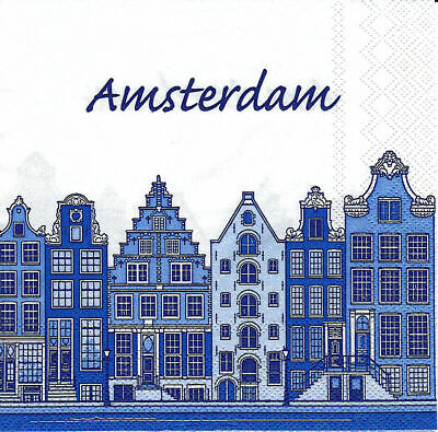 3x napkins Amsterdam / Holland blue for collection, decoupage and other crafts