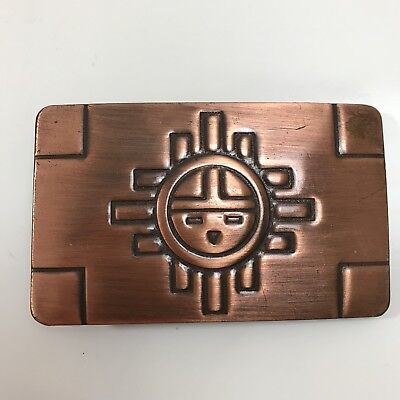 Vintage Chambers Belt Co. Copper Aztec Sun Rectangular Belt Buckle Made In USA