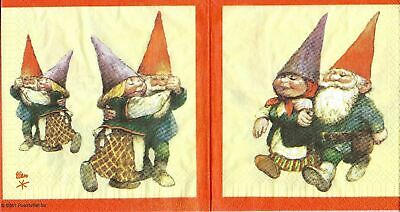 3x Rare napkins Gnome for collection, decoupage and other crafts