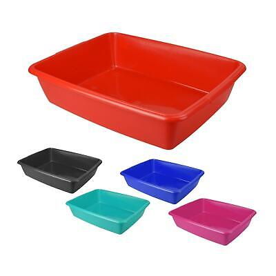 New Large 48cm Cat Litter Tray Kitten Plastic Toilet Loo Black Red Teal Grey