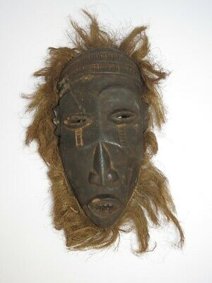 African Art Mask with Grass Headdress, Carved Wood Sculpture with Grasses