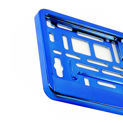 BLUE GLOSS CHROME Car Number Plate Surround Holder FOR ANY CAR VAN  M