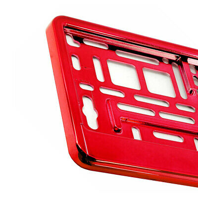 RED GLOSS CHROME Car Number Plate Surround Holder FOR ANY CAR VAN  M