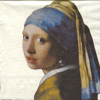 3x napkin Girl with a pearl earring cream J. Vermeer for collection / decoupage