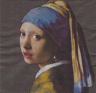 3x napkin Girl with a pearl earring by J. Vermeer for collection / decoupage