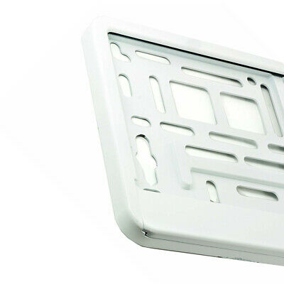 WHITE SUPER GLOSS  Car Number Plate Surround Holder FOR ANY CAR VAN  M