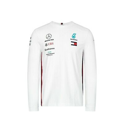 NEW 2019 Mercedes AMG F1 Team Lewis Hamilton Long Sleeve T Shirt Tee Top WHITE