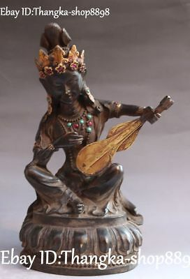"10"" Tibetan Old Bronze Sit Saraswati Fairy of Wonderful Sound Buddha Statue"