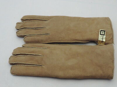 Grandoe Brown Medium M Warm Faux Suede Shearling Lined Winter Gloves