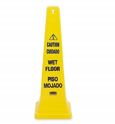 Rubbermaid Commercial Safety Cone Wet Floor Multilingual 36 inch FG627677 YELLOW