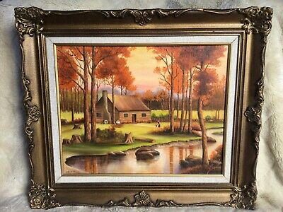 J. De Rose Oil On Board Cabin In Autumn Painting Framed