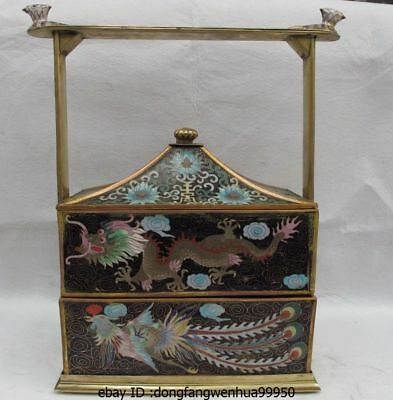 16 China Brass Copper Cloisonne Dragon Phoenix Bird Food Case Casket Box Hamper