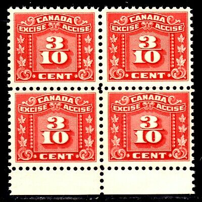 CANADA REVENUE #FX58 3/10c RED, 1934-48 EXCISE BLOCK/4, VF, MINT NH