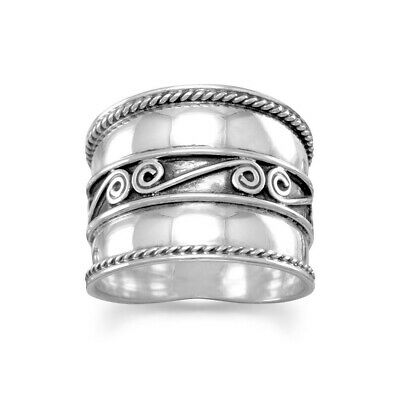 Bali Spiral and Rope Edge Wide Band Ring Sterling Silver, 7
