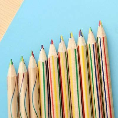 10Pcs Wooden Wood 4 in 1 Colored Rainbow Color Pencil for Kid Graffiti Drawing