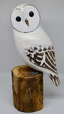 "Hand Carved Wooden Painted LARGE Snow Owl on Tree Stump Bird Carving 12""/ 30cm"