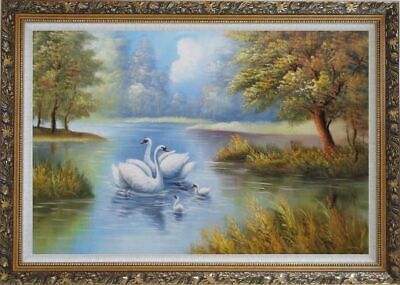 30x42 Framed Oil Painting White Swans With Nestlings On Peaceful Lake Animal