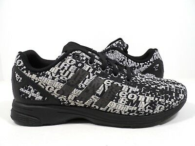 0465b8343 Adidas Originals Mens JS Jeremy Scott ZX Flux Tech Logo Runner Black White 9