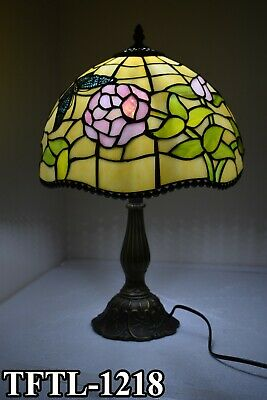 "New TIFFANY Style Table Lamp 12"" shade Antique Hand Crafted Bed/Living Room Lamp"