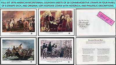1976 full set 4 AMERICAN BICENTENNIAL SOUVENIR SHEETS Scott 1686-1689 w/cover #2