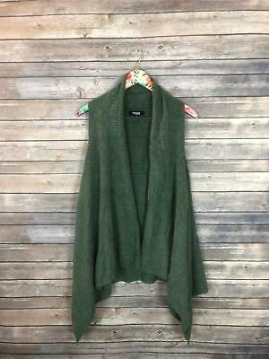 Threads Saks Fifth Avenue Women's Size XL Green Knit Vest Asymmetrical Hem YD38