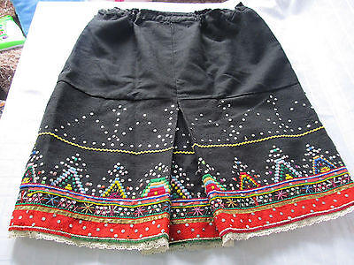 Antique Embroidery Rare Original Old Wool Handmade Embroidered Homespun Skirt